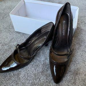 "Etienne Aigner Shoes - Etienne Aigner 9 2.5"" heels brown patent leather"